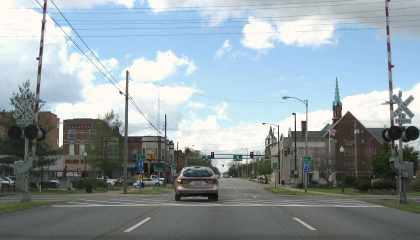 On Main Street, looking past the railroad tracks.
